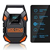 Mod Cons Tyre Inflator Car Bike Portable Air Compressor Pump | 2020 Model 12V 150PSI Digital Auto Tire Inflator With Emergency Led Light, Long Cable For Car Bike Bicycle Motorcycle Basketball - Orange