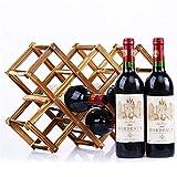 Botellero de Vino, 3/5/6/10 Botella Botella de madera Tinto Rack Holder Mount Bar Pantalla Estante Plegable Madera Casa Decoración de almacenamiento (Color : 4)