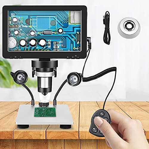 TTLIFE Microscopio Digital, 7    Pantalla HD 12mp Cámara 1200x Microscopio Profesional con 8 Luces Led e Mando a Distancia con Cable, para Reparación Relojes Evaluación Joyas Investigación Científica