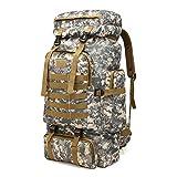 PPPOE Notfallrucksack, Fluchtrucksack Große Kapazität 80 L, Camping Ausrüstung Trekking Klettern Rucksack,Grau