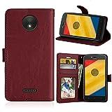 Fatcatparadise Coque pour Motorola Moto C Plus [avec Verre Trempé], PU Cuir Flip Housse Magnétique...