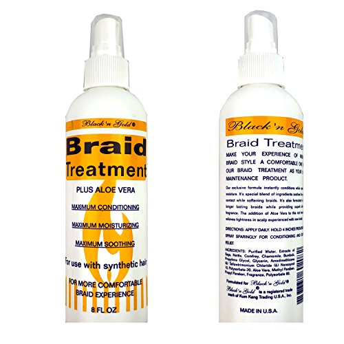 Black 'n Gold Anti Itch & Tension Relief Kanekalon or Synthetic Braids Spray With Aloe Vera Professional Braid Treatment Spray