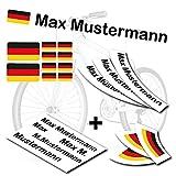 style4Bike TOP Namensaufkleber 2er Set inkl. Deutschland Flagge als Aufkleber Sticker Fahrrad Auto |...