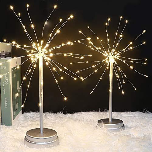 Whonline 2pack 180 LED Firework Copper String Lights Starburst Lights Dandelion String Lights Bouquet Shape Fairy Lights for Home Party Wedding Decoration (Warm White)