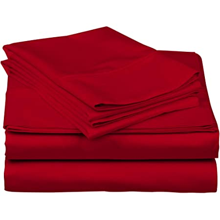 UK 5 PC Duvet Set Soft Egyptian Cotton 1000 Thread Count All Sizes Red Color