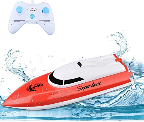 Remote Control Boats for Pools and Lakes, TOYEN RC Boat 2.4GHz 14km/h Mini Remote Boat Toys Indoor/Outdoor for Kids Boys Girls (Only Works in Water)