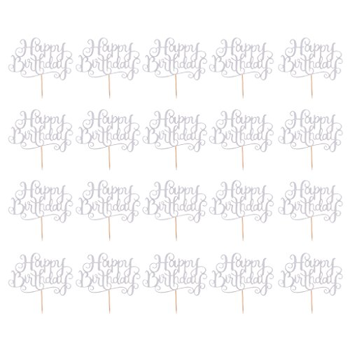 Dovewill Pieces of 20 Glitter Paper Happy Birthday Cake Cupcake Topper Food Picks Home Party Decor Silver