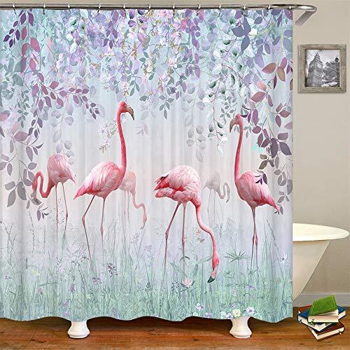 Duschvorhang Flamingo Mauve Leaf Nebel Mystery Fairland Tropical Bird im Garten Schöne Landschaft Badezimmer Dekor Zubehör Badvorhang mit Haken