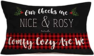 Fukeen Merry Christmas Mistletoe Leaves Throw Pillow Covers Black Red Buffalo Plaid Checkers with White Quote Letters Pillow Cases Cushion Cover Cotton Linen Waist Lumbar Pillowcase 12x20 Inch
