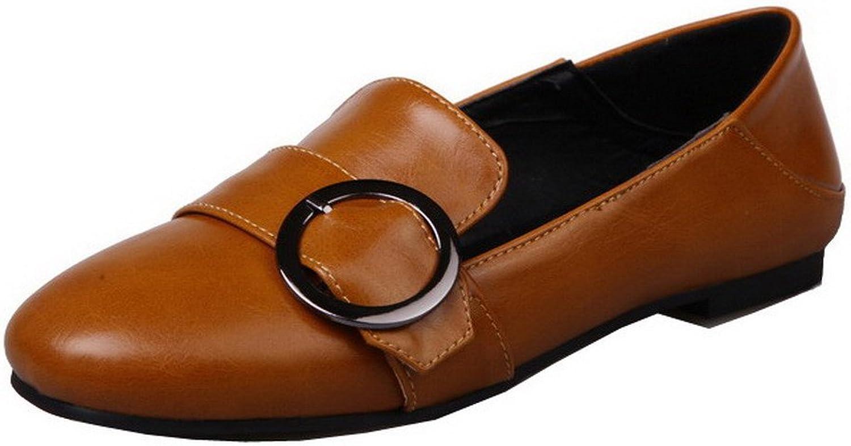 AllhqFashion Women's PU Solid Closed-Toe Low-Heels Pumps-shoes