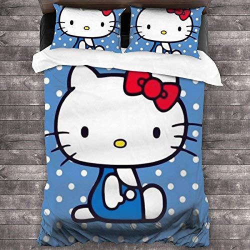NBAOBAO Hello Kitty - Juego de cama infantil (funda nórdica y funda de almohada y sábana bajera,...