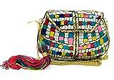 gauri Bolso étnico antiguo indio mosaico piedra embrague cadena desmontable mujeres nupcial matrimonio matrimonio bolsa de metal (Multi con borla)