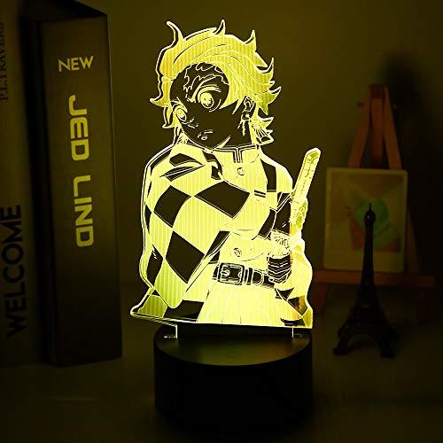 Kimetsu No Yaiba Tanjiro Kamado Figura 3D lámpara de noche para dormitorio infantil decoración de luz nocturna LED luz nocturna para regalo de demonios