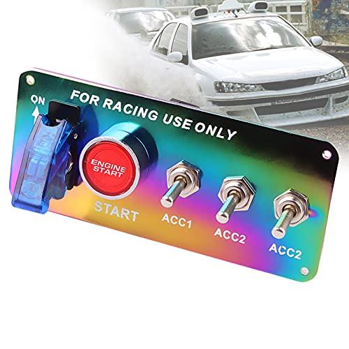 FRIBLSKEL Panel Interruptores Coche Color 12V Interruptor Palanca Carreras 5 En 1 Interruptor Encendido Universal Modificado Interruptor Basculante para Barco Camiones Campista Vehículos,Azul