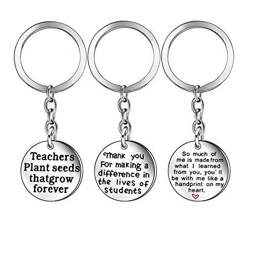 Regalos de agradecimiento para profesores, regalo de graduación, llaveros de acero inoxidable plateado, brazalete para profesores (llaveros)