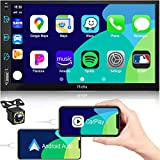 Car Stereo Compatible with Apple CarPlay&Android, 7 inch Double Din Stereo, Voice Control, Touch Screen Car Radio with Backup Camera, Hieha Digital Media Receivers Bluetooth|A/V Input|AM|FM|SWC