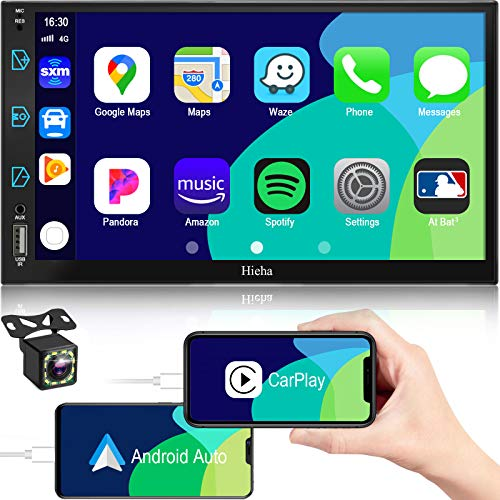 Car Stereo Compatible with Apple CarPlay&Android, 7 inch Double Din Stereo, Voice Control, Touch Screen Car Radio with Backup Camera, Hieha Digital Media Receivers Bluetooth A/V Input AM FM SWC
