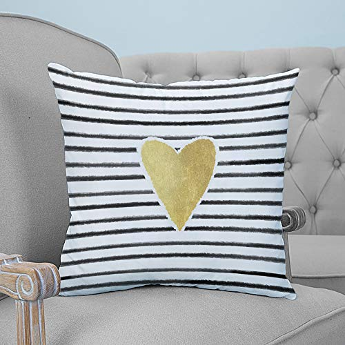 ARTSHOWING Throw Pillows for Bed Minimalist Illustration Throw Pillow Cover Cushion Case for Sofa Hand Drawn Streak with Yellow Love Pattern Canvas Home Decor for Couch Bedroom 18x18 inches