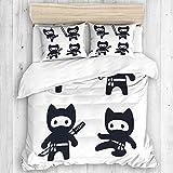 Minalo Bedding Juego de Funda de Edredón,Cute Cartoon Ninja Cat Set Adorables Dibujos en Blanco y Negro en Estilo japonés Moderno Simple,Microfibra SIN Relleno,(Cama 240x260 + Almohada)