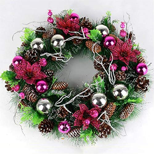 Wreath Lin Christmas, 60cm Environmental Protection PVC Artificial Pine Cone Simulation Pine Ball Teng Ring Door Hanging Holiday (Pink)