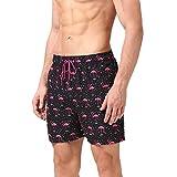anqier Badeshorts für Männer Badehose für Herren Jungen Schnelltrocknend Schwimmhose Strand Shorts,Rosa,S(EU)-MarkeGröße:M-Taille 76-84cm