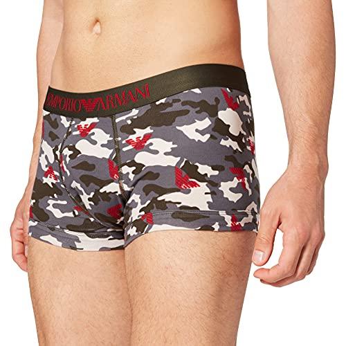 Emporio Armani Underwear Trunk Camouflage Trunks, Anthrac.Camou+Eagles, L Uomo
