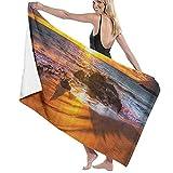 Playa Hermosa Puesta de Sol Costa Agua de mar Paisaje Toalla de baño Toalla de Playa Vintage Manta de baño de Secado rápido Tela portátil para Acampar