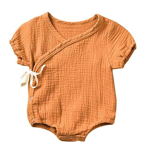 Puseky Pijamas japoneses de la túnica del Hilado de algodón del Mameluco del Estilo del Kimono del bebé de la niña pequeña