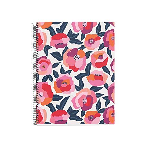 Miquel Rius - Cuaderno A5 - Tapa Extradura, 4 franjas de color, 120 Hojas Cuadrícula, Papel 70g Microperforado con 2 taladros para 2 anillas, Color Rosa, Diseño Spring