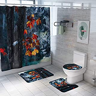 LayTmore Shower Curtain Sets with Non-Slip Rugs, Toilet Lid Cover and Bath Mat, Fitted with curtain hooks, 4PCS