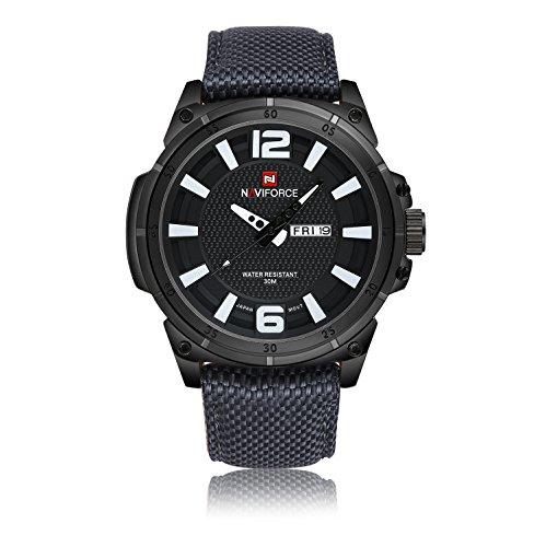 Naviforce Uomo Luxury Brand moda del movimento del Giappone Swiss Military s' Orologi sportivi 3M nylon impermeabile cinturino nero