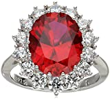 Platinum-Plated Sterling Silver Created Ruby with Swarovski Accent Ring, Size 8