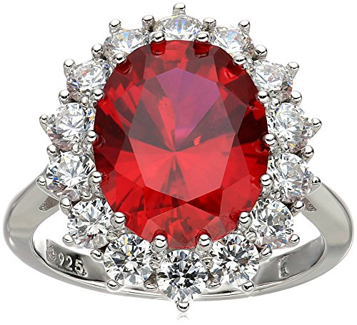 Platinum-Plated Sterling Silver Created Ruby with Swarovski Accent Ring, Size 7