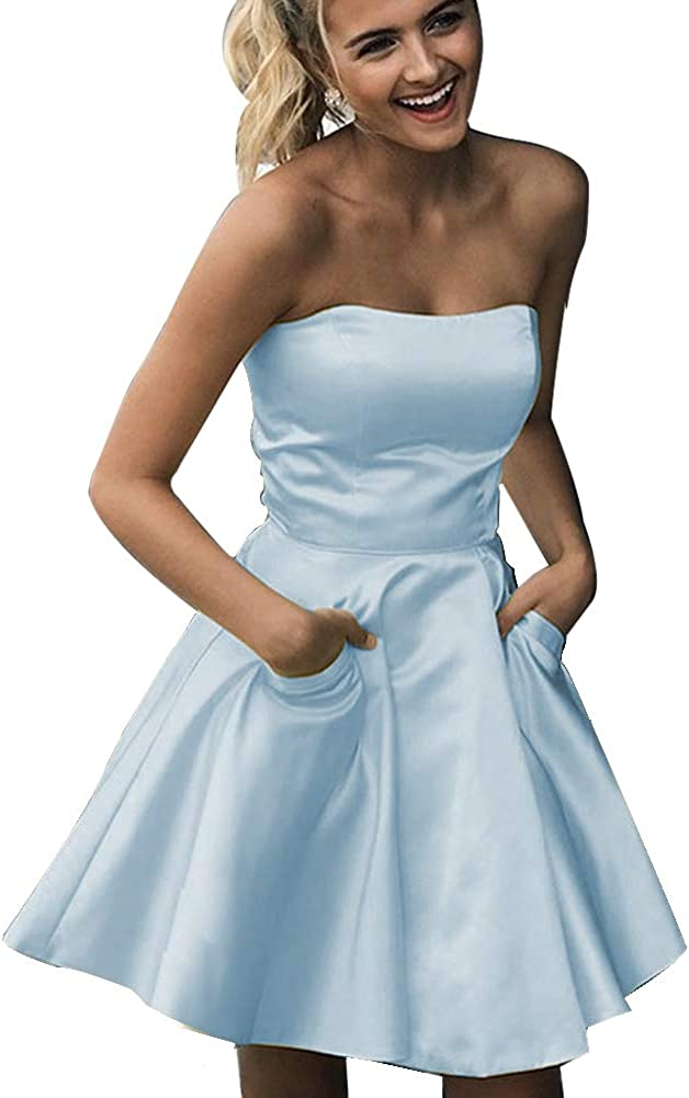 Stylefun Women's Strapless Homecoming Dresses for Teens with Pockets 2021 Short Prom Dress for Juniors PM5814