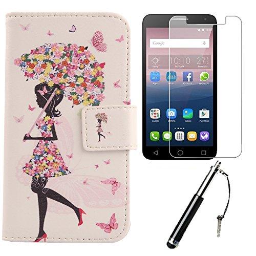 Lankashi 3in1 Set Umbrella Girl PU Flip Leder Tasche Für Alcatel One Touch Pop 4 Plus 5.5