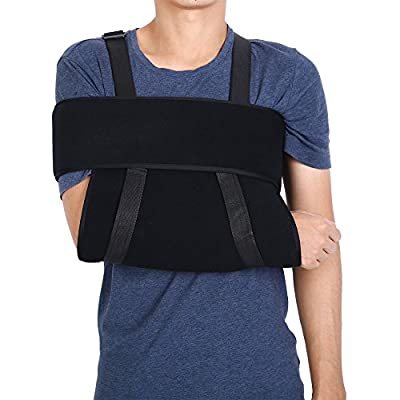 Arm Sling Shoulder Brace Fully Adjustable Rotator Cuff and Elbow Support with Immobilizer Band for Men Women and Kids Black