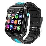 HQPCAHL Reloj Inteligente 4G para niños, Reloj Inteligente Impermeable para niños para iOS Android con Tarjeta SIM y Tarjeta TF cámara Dual WiFi GPS rastreador Reloj Android SmartWatch,Azul