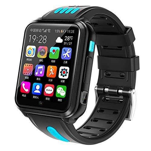 HQPCAHL Smartwatch per Bambini 4G GPS Orologio Smart Phone LBS Anti-Perso con Chat Vocale SOS Camera Sveglia Game, Smart Watch per Ragazzi Ragazze,Blu
