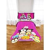 Disney Tsum Tsum Pink Girls Reversible Twin/Full Comforter and Twin Sheet Set