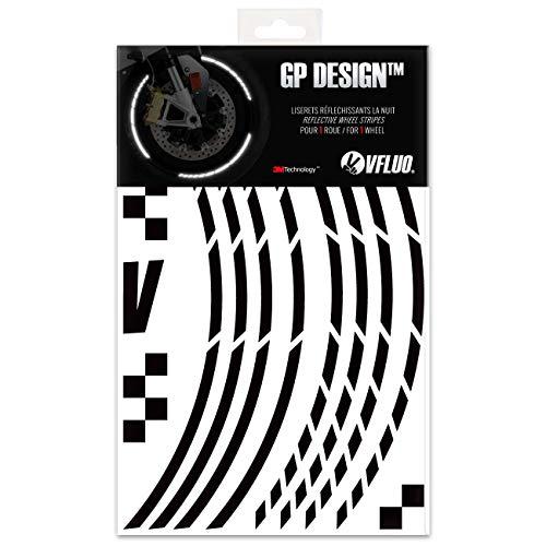 VFLUO GP Design, Kit de Cintas, Rayas Retro Reflectantes para Llantas de Moto (1 Rueda), 3M Technology, Anchura Normal : 7mm, Negro
