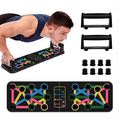 synmixx Liegestütze Brett, 14 in 1Push Up Board Tragbare Faltbares Multifunktions Push Up Rack Board mit Handgriff für Heim Fitnesstraining - für Brust, Schulter, Rücken, Trizeps