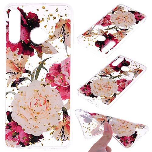 Yobby Trasparente Hülle für Huawei P30 Lite,Vintage Pfingstrose Blumen Muster Bling Glitzer Gold Weich Silikon Handyhülle mit TPU Bumper Schutzhülle für Huawei P30 Lite