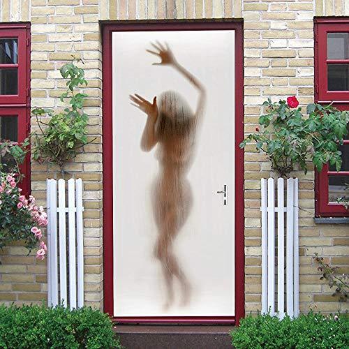 Liushenmeng DIY Türtapete Sexy Frau Silhouette PVC Selbstklebende wasserdichte Abnehmbare Art Decals für Dekoration Wandbild HD 77X200cm