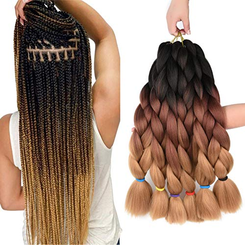 Kanekalon Braiding Hair Extensions 6pcs Ombre Synthetic Jumbo Braids Hair Yaki Texture 24 Inch 3 Tone Afro Crochet Twist Braid Hair 100g/pcs(24' 6pcs, black/dark brown/light brown)