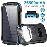 elzle Cargador Solar 26800mAh, Solar Power Bank 15W (5V / 3A) Salida de Carga rápida Resistente al Agua con Dos Salidas USB 3.1A y una Salida Type-C y Linterna LED para iOS, Samsung Galaxy y más