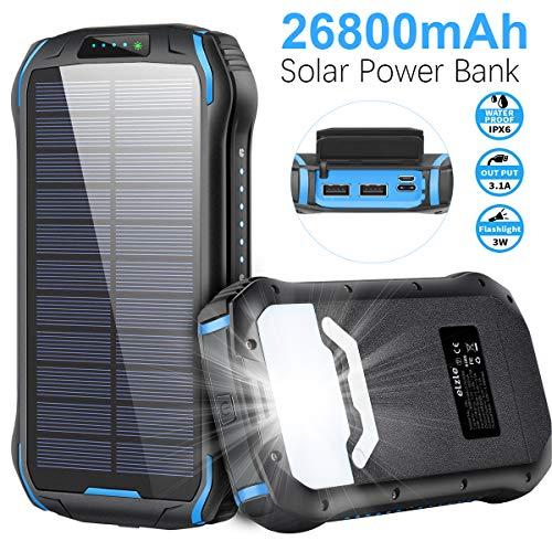 Cargador Solar 26800mAh, Solar Power Bank 15W (5V / 3A) Salida de Carga rápida Resistente al Agua con Dos Salidas USB 3.1A y una Salida Type-C y Linterna LED para iOS, Samsung Galaxy y más