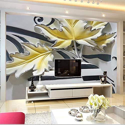 Mural de pared 3D personalizado flor europea en relieve flor de pared en relieve Mural decorativo personalizado gran mural verde pegatinas de papel tapiz,250(W)*175(H)cm