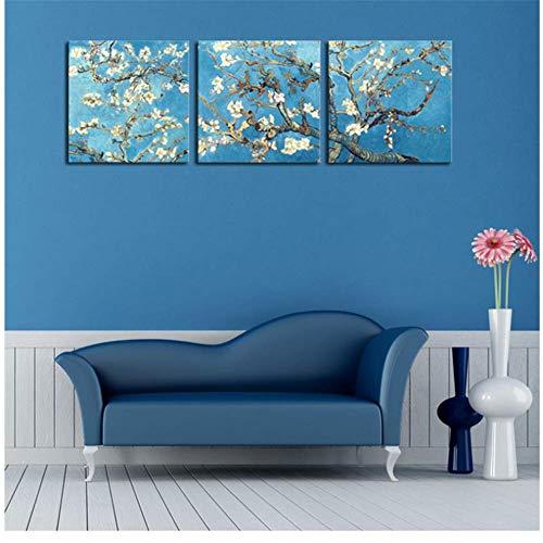 Pintar ramas de un almendro en flor Flor Lienzo Imagen de la pared Arte Decoración del hogar póster 50x50cmx3pcs Sin marco