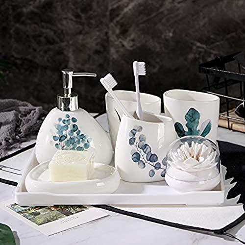 JZDH Baño de cerámica nórdico Conjunto de Accesorios Individuales Soporte de Cepillo de Dientes Emulsión Botellas de látex Botellas Regalo de Boda Kit de Accesorios de baño (Color : White)