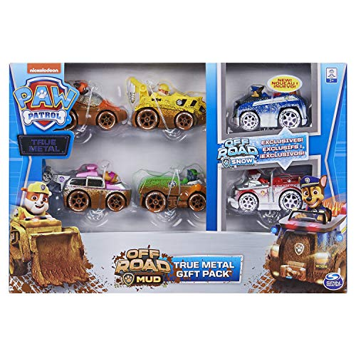 PAW PATROL 6058351 off Road Mud True Metal Diecast Gift Pack of 6 Collectible Die-Cast Vehicles, 1:55 Scale, Multicoloured